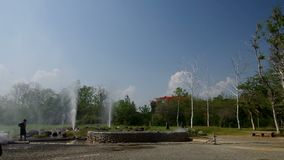 Young boy in front of Geyser stock video footage