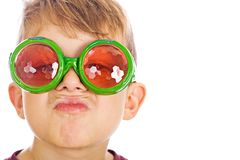 Young boy with funny bug glasses. Royalty Free Stock Photos