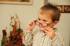 Young boy with funny glasses Stock Image