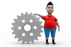 Young Boy and Gear Stock Photo