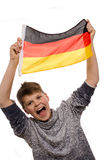 Young boy with a German flag Stock Images