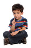Young Boy Gesturing Number One stock image