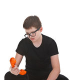 Young boy getting bored Royalty Free Stock Photos