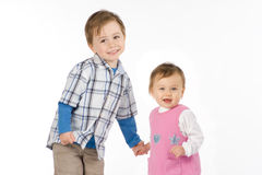 Young boy and girl. Two small children that could be brother and sister.  One boy and one girl Royalty Free Stock Photography