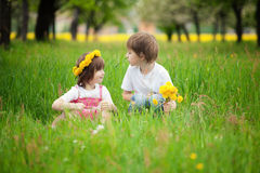 Young boy and girl in grass Stock Images