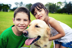 Young boy and girl hugging a golden retriever. Outdoors royalty free stock image