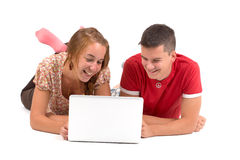 Young boy and girl with laptop computer royalty free stock image