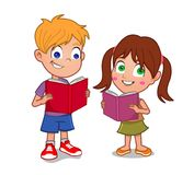 Little boy and girl reading. Young boy and girl reading open books smiling Royalty Free Stock Photos