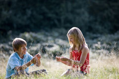 A young boy and girl sitting in long grass Stock Photos
