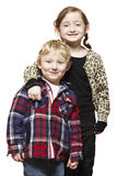 Young boy and girl smiling casually dressed stock photo
