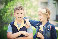 Young Boy and Girl Talking in the Spring Royalty Free Stock Images
