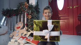 Young boy giving a present to camera stock video