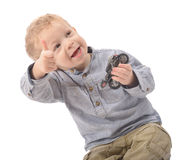 Young boy is glad. On white background stock photography