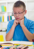 Young boy with glasses learns from books Royalty Free Stock Image