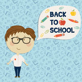 Young boy in glasses say back to school. Back to school. Young boy in glasses say back to school. Vector illustration. Seamless pattern on background Stock Photos