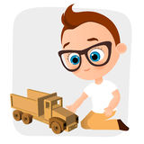 Young Boy with glasses and toy car. Boy playing car. Vector illustration eps 10 isolated on white background. Flat cartoon style. Stock Photography