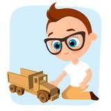 Young Boy with glasses and toy car. Boy playing car. Vector illustration eps 10 isolated on white background. Flat cartoon style. Stock Image