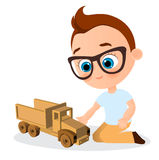 Young Boy with glasses and toy car. Boy playing car. Vector illustration eps 10 isolated on white background. Flat cartoon style. Royalty Free Stock Image
