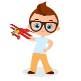 Young Boy with glasses and toy plane. Boy playing with airplane. Vector illustration eps 10 isolated on white background. Flat car. Toon style Stock Photography