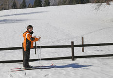 young boy goes on cross-country skiing Royalty Free Stock Photos