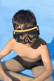 Young boy with goggles on Royalty Free Stock Image