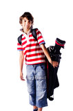 Young boy with golf bag, isolated Stock Photo