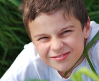 Young boy in grass Royalty Free Stock Photography