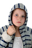 Young boy in gray hood isolated on white Stock Photos