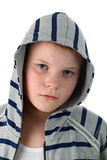 Young boy in gray hood portrait isolated on white Stock Photo