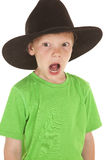 Young boy green shirt cowboy hat open mouth Royalty Free Stock Photo