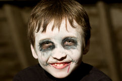 Young boy with halloween makeup. Portrait of young boy with halloween makeup Stock Images
