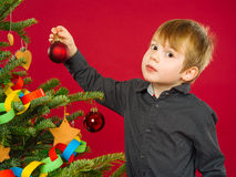 Young boy hanging Christmas tree decorations Stock Photography