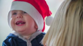 Young boy is happy for Christmas stock footage