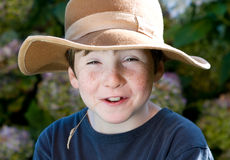 Young boy with hat like farmer Royalty Free Stock Photos