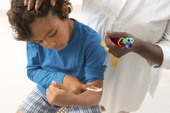 Young boy Having Blood Test Stock Images