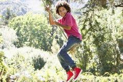 Young Boy Having Fun On Rope Swing Stock Photo
