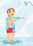 Young Boy Having Shower Vector Illustration Stock Photos