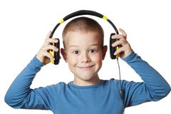 Young boy in headphones Royalty Free Stock Photography