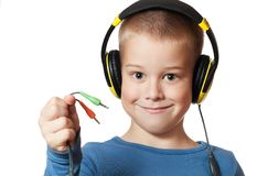 Young boy in headphones Royalty Free Stock Photos