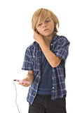 Young boy with headphones Stock Image