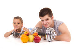 Young boy and helthy men resting Royalty Free Stock Images