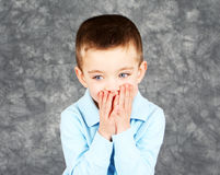 Young boy hiding face in hands Royalty Free Stock Image