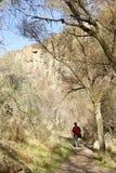 Young boy hiking. Young boy in Melendiz river in the Ihlara valley. Cappadocia Turkey Royalty Free Stock Photos