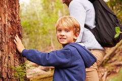 Young boy and his father walking through a forest stock photo