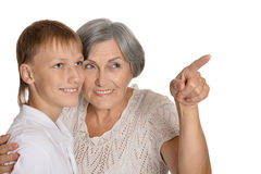 Young boy and his grandmother Royalty Free Stock Image
