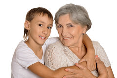 Young boy and his grandmother Stock Image