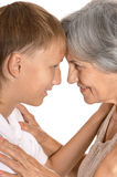 Young boy and his grandmother Stock Photos