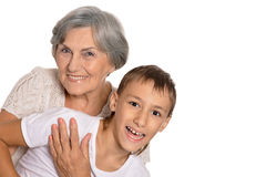 Young boy and his grandmother Stock Photo