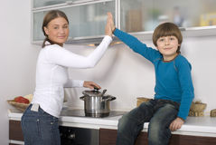 Young boy and his mother Stock Photography