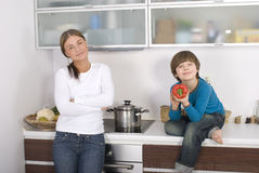 Young boy and his mother Stock Photo